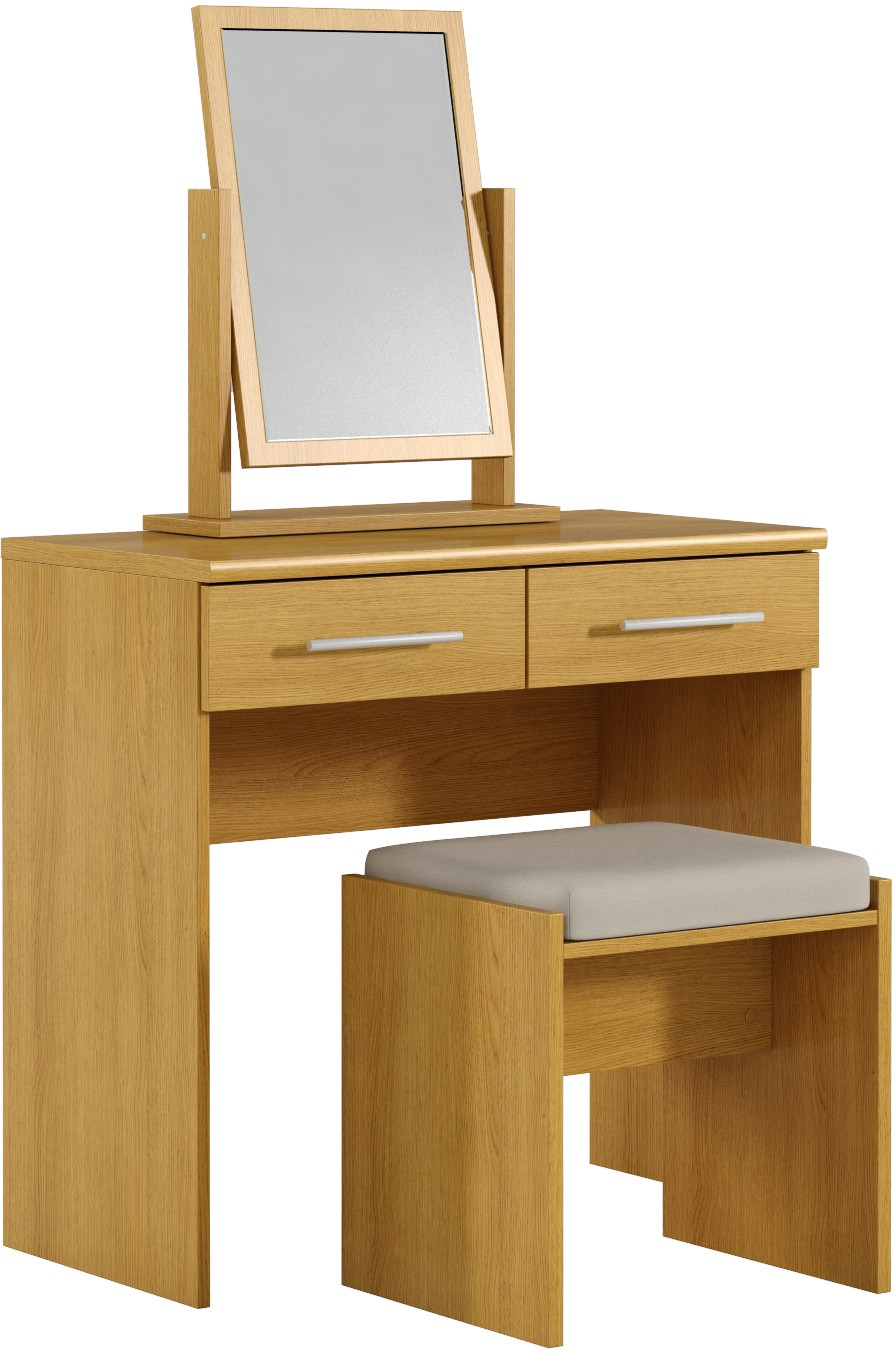 Dressing Table With Mirror And Stool: Prague Dressing Table With Mirror And Stool In Oak Effect