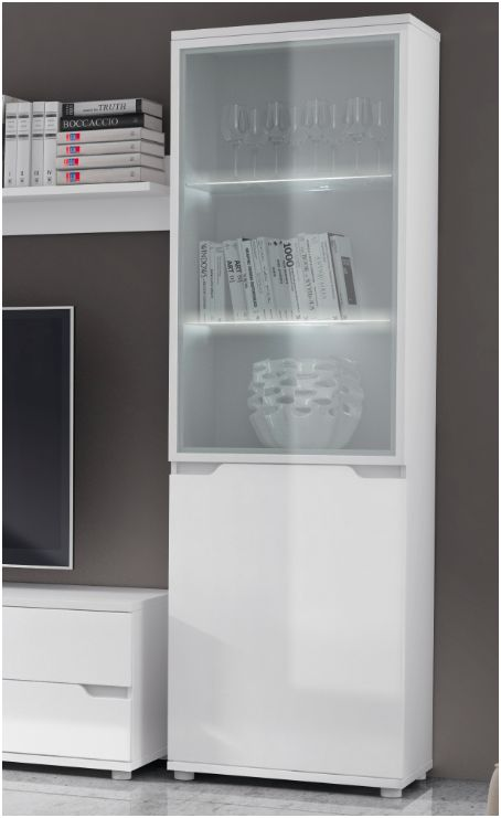 Aspire White Gloss Display Cabinet Shelving Storage Unit (P9RXAS10) .