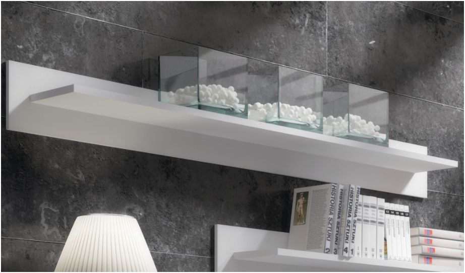 Aspire White Gloss Wall Mounted Floating Shelf P9RXAS05