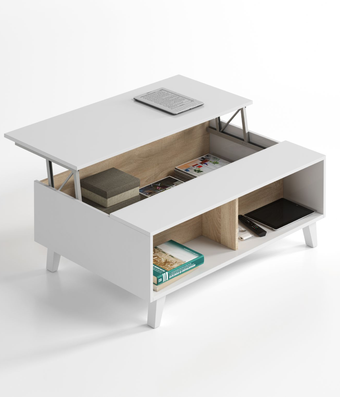 Bari Storage Coffee Table Soft White Gloss With Oak Effect