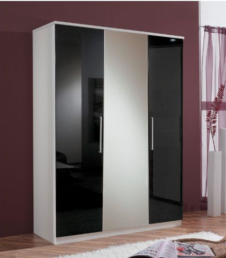 Berlin 3 Door German Wardrobe Black Gloss and Alpine White ...