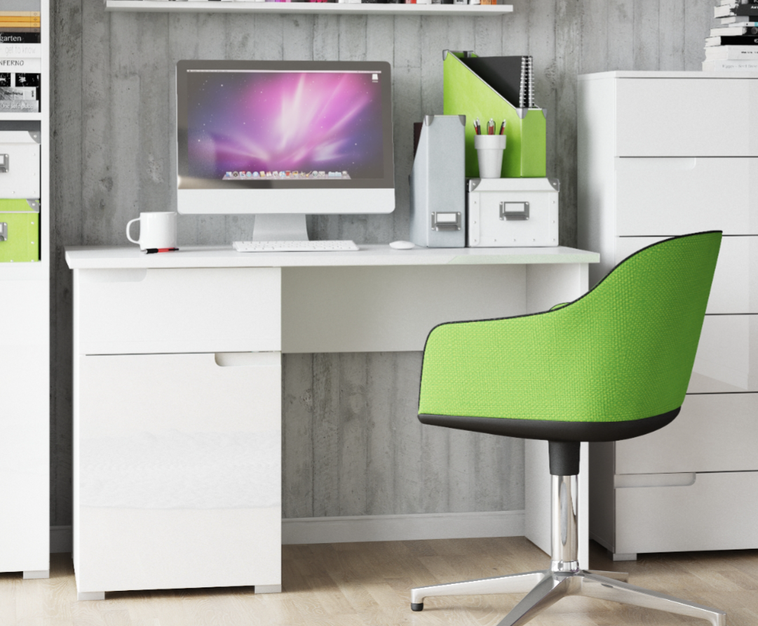 Cellini Large White Gloss Computer Desk Office Workstation