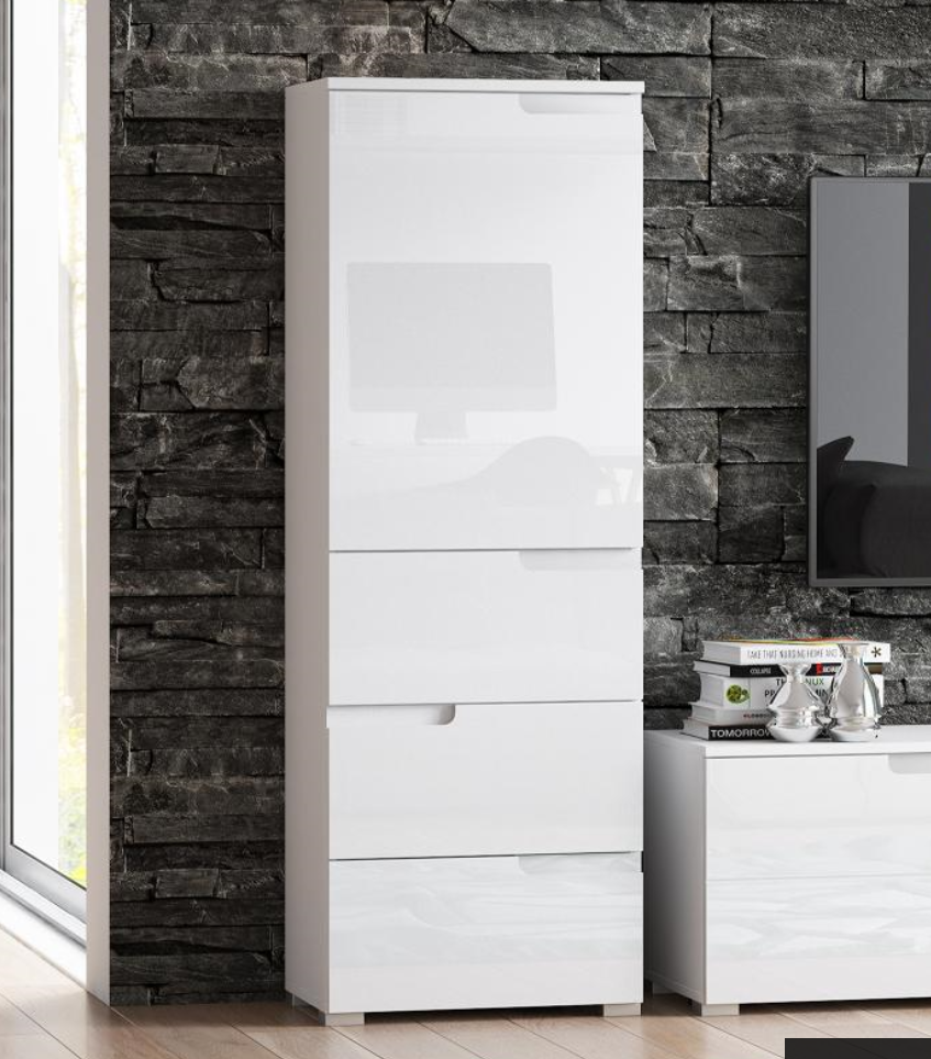Cellini White Gloss Tallboy Slim Storage Unit Save Upto