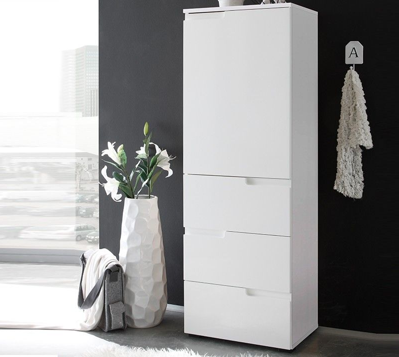Cellini White Gloss Tall Bathroom Cupboard Storage Unit Sb11