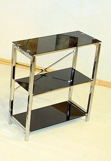 Delton Black Glass 3 Tier Shelf Unit HL308
