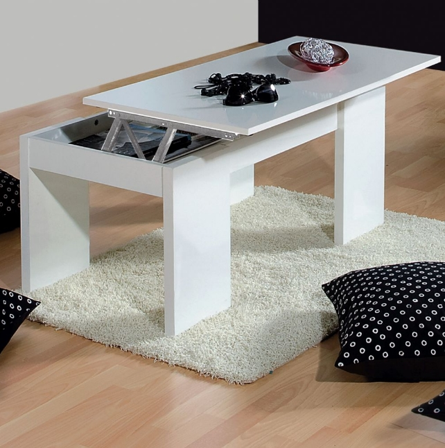 Florence Lift Up Storage White Gloss Coffee Table BO