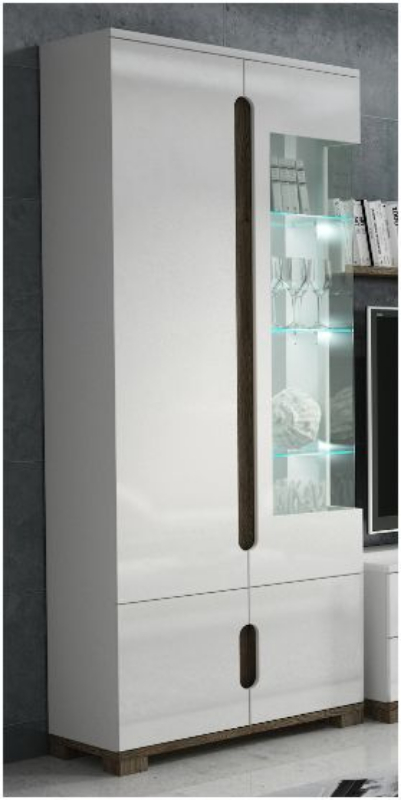 Lorenz High Gloss White Display Cabinet 1 Glass Door P9rxls 22