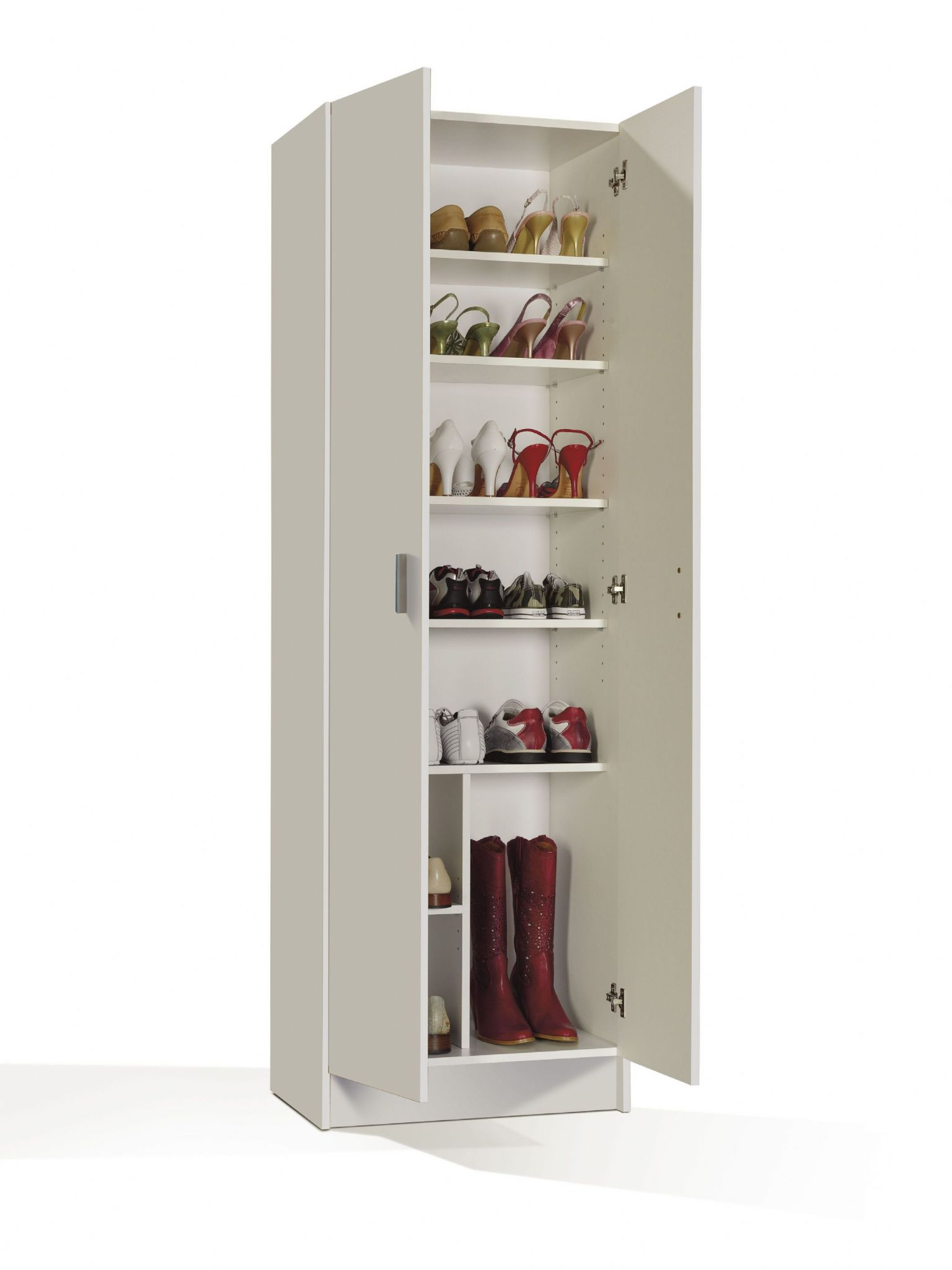 White shoe storage cabinet with doors shoe wardrobe cupboard for Armario zapatero carrefour