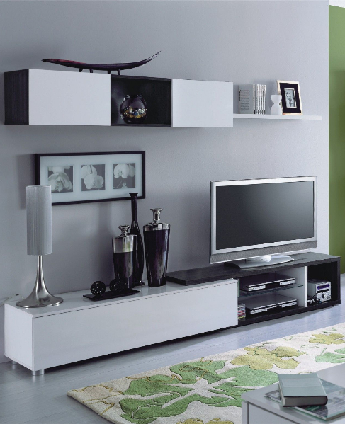 naia oak grey and white gloss tv cabinet with wall unit. Black Bedroom Furniture Sets. Home Design Ideas