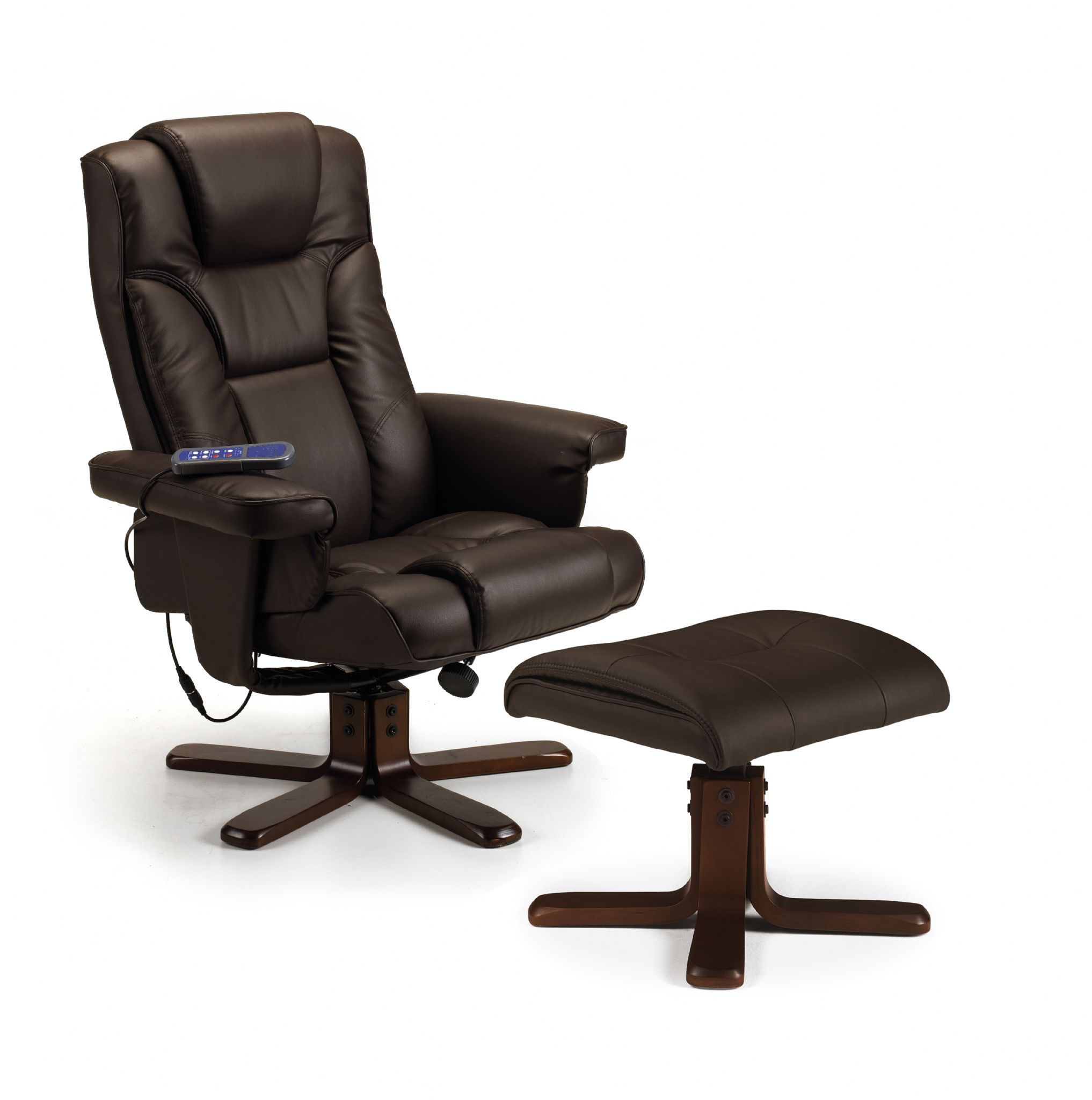 Roncesvalles Brown Massage Recliner Amp Stool Jb297