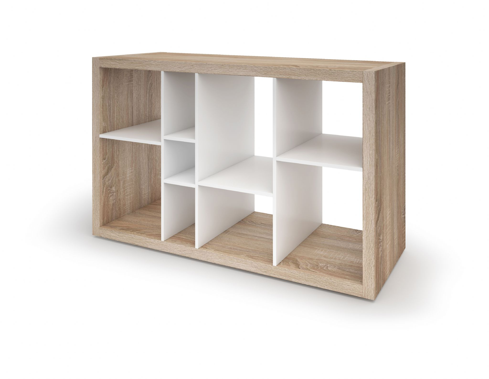 Ruby low wide bookcase open back room divider oak with for White open bookshelf