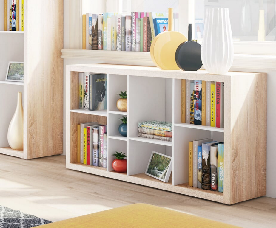 Ruby low wide Bookcase open back Room Divider Oak with White B02