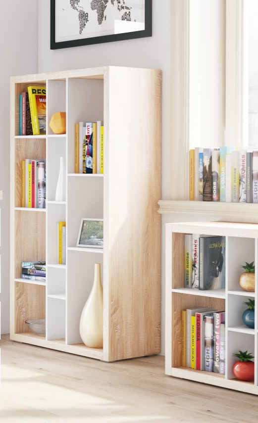 Ruby Tall wide Bookcase open back room divider Oak effect with Matt white  B01