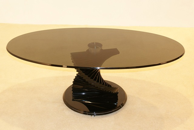 Swirl Black Glass Coffee Table Hl272