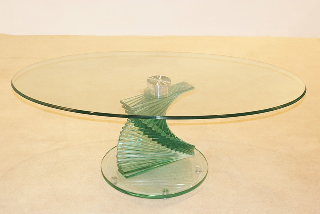 swirl glass coffee table hl269