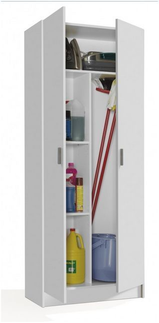 tall white 2 door utility universal storage cupboard white 7142o. Black Bedroom Furniture Sets. Home Design Ideas