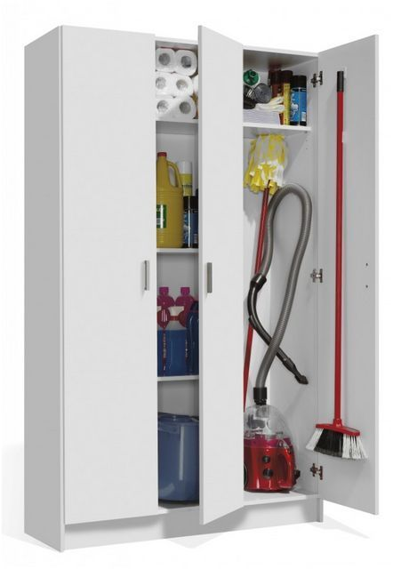 Tall White 3 Door Universal Storage Cabinet With Doors
