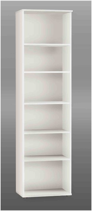 Tempra White Tall Narrow Bookcase Bookshelf Furniture KR02 120