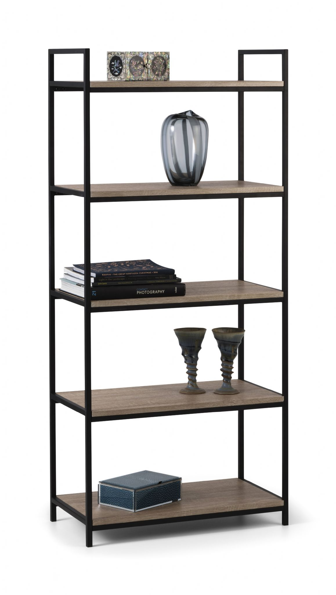 Terrassa Modern Black And Sonoma Oak Tall Bookcase Jb551