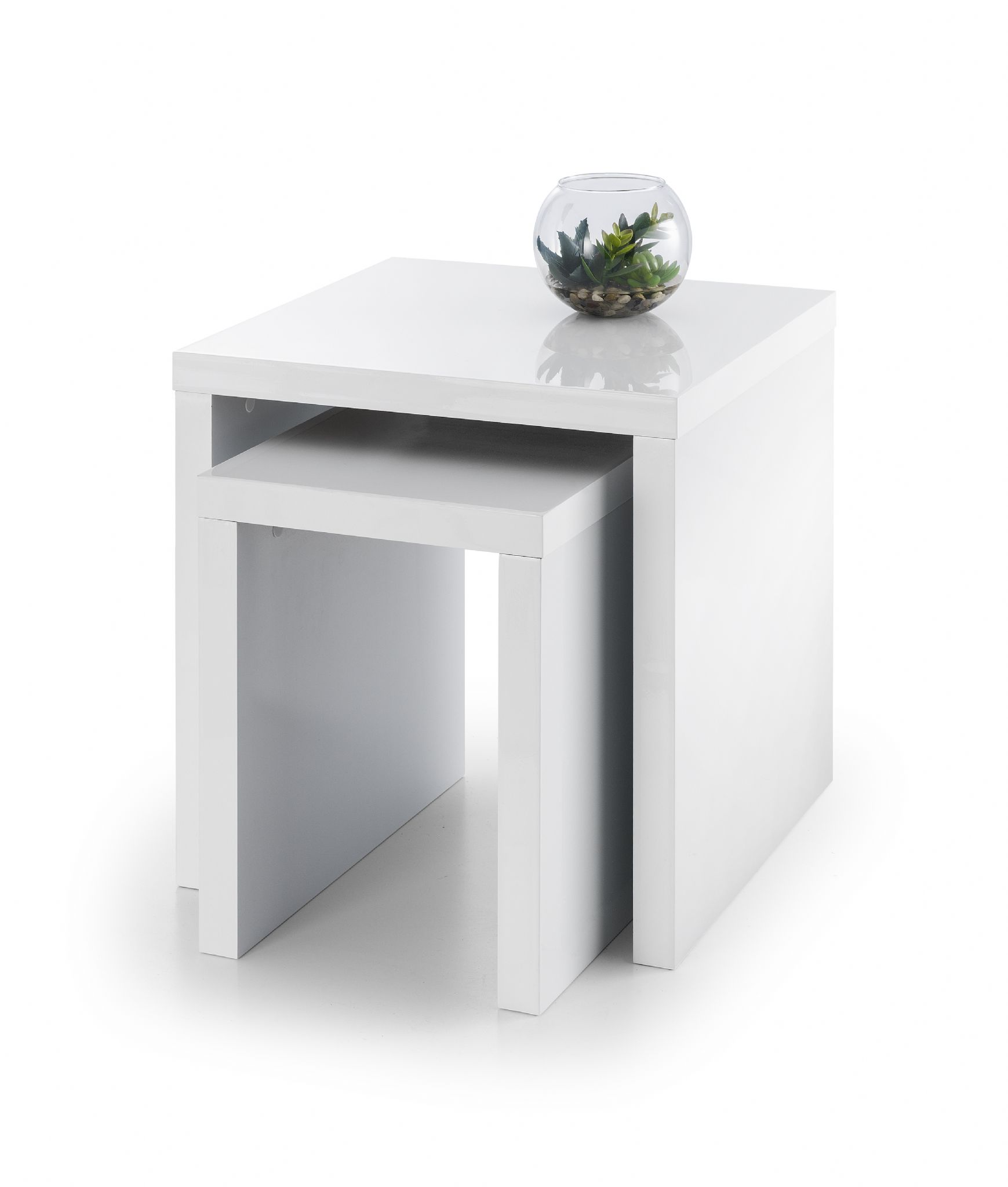 Algeciras White High Gloss Lacquered Finish Nest Of Tables