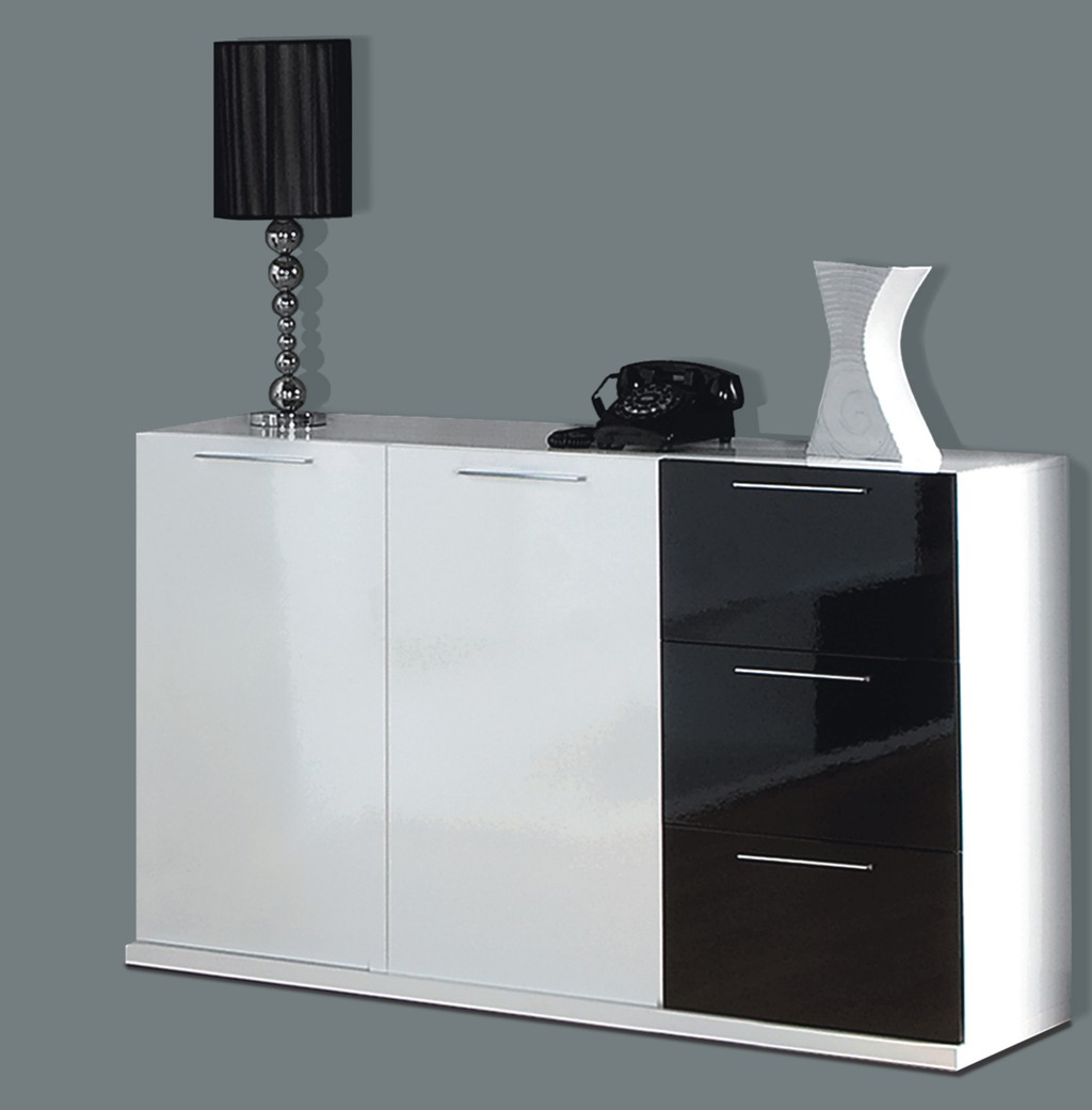Alida Black And White Gloss Sideboard