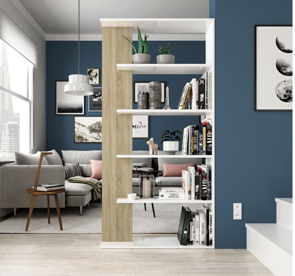 Alida Open Back Room Divider White And Oak Bookcase 0f2252A