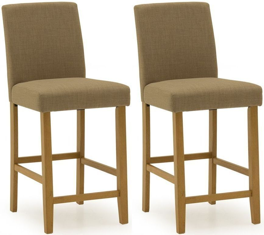 Anagni Traditional Beige Linen Bar Chair (Pair) 218VD416