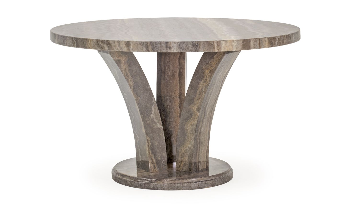 Aquila High Gloss Pearl Grey Marble Round Dining Table 18VD48