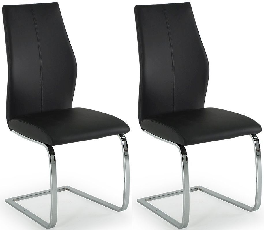 Aquileia Black Faux Leather With Chrome Cantilever Design Dining Chair (Pair) 218VD382