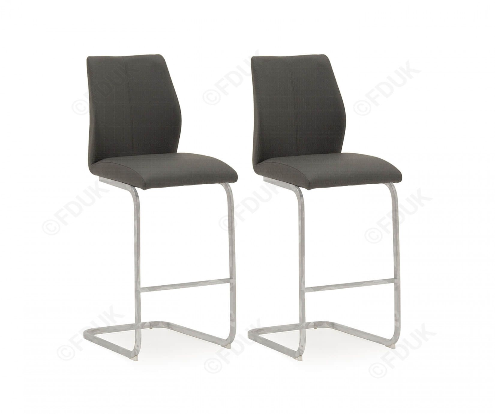 Peachy Aquileia Grey Faux Leather With Chrome Cantilever Design Bar Stool Pair 218Vd376 Caraccident5 Cool Chair Designs And Ideas Caraccident5Info