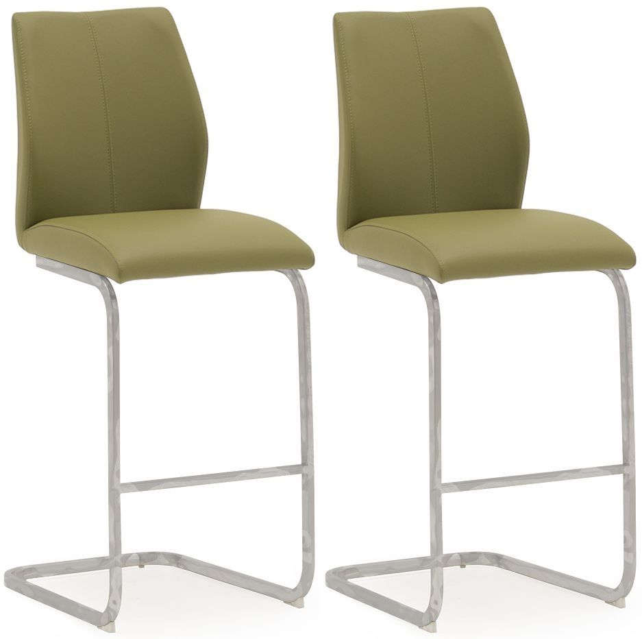 Aquileia Olive Faux Leather With Chrome Cantilever Design Bar Stool (Pair) 218VD377