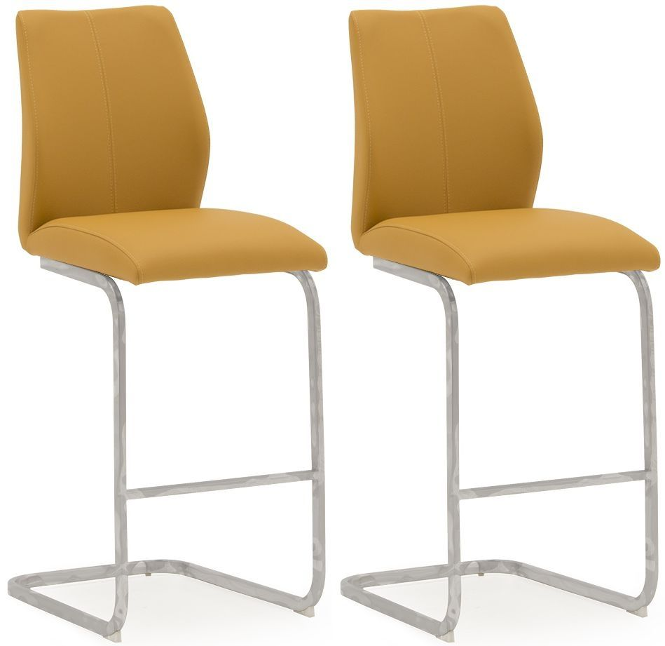 Peachy Aquileia Pumpkin Faux Leather With Chrome Cantilever Design Bar Stool Pair 218Vd378 Pdpeps Interior Chair Design Pdpepsorg