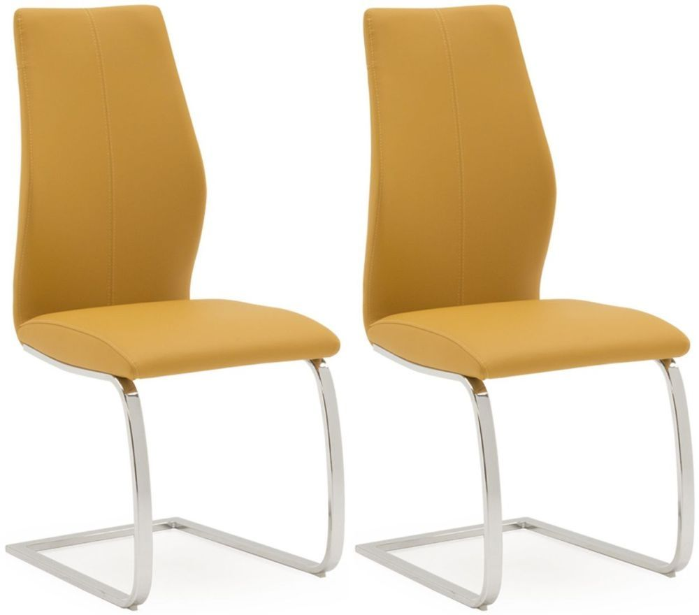 Miraculous Aquileia Pumpkin Faux Leather With Chrome Cantilever Design Dining Chair Pair 218Vd385 Caraccident5 Cool Chair Designs And Ideas Caraccident5Info