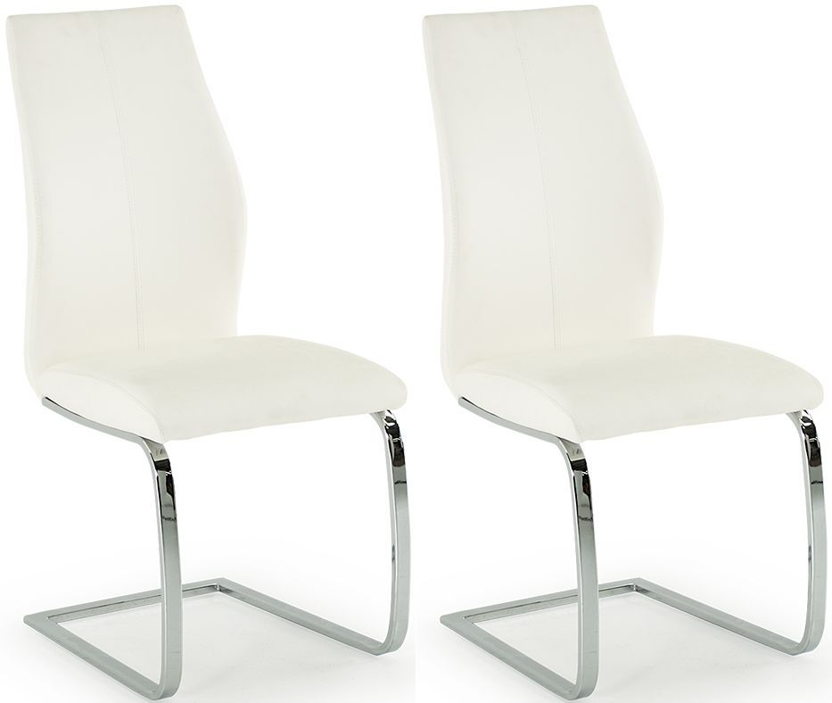aquileia white faux leather with chrome cantilever design dining chair pair 218vd387. Black Bedroom Furniture Sets. Home Design Ideas