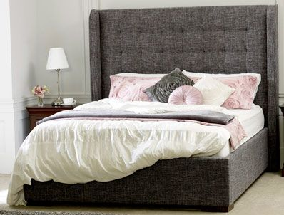 Aquilia 4ft6 Double Grey Marl Fabric Bed - LLB