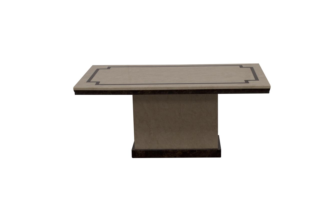 Argenta High Gloss Cream And Dark Brown Marble Coffee Table