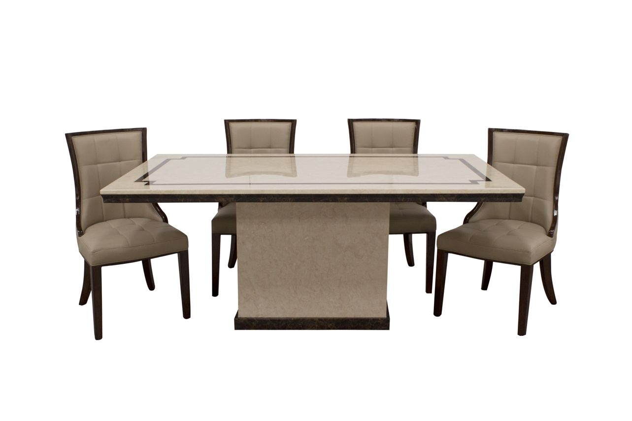 Argenta High Gloss Cream And Dark Brown Marble Dining Table 218vd26