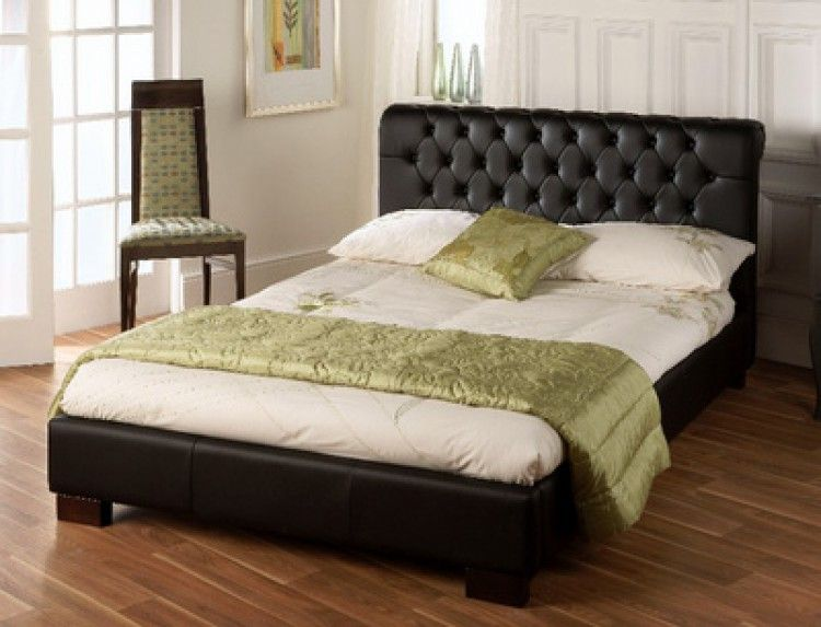 pretty nice 7861d 7f71c Aries Black Faux Leather 4ft6 Double Bed - LLB