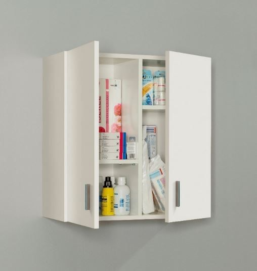 Arma 2 Door White Storage Wall Cupboard