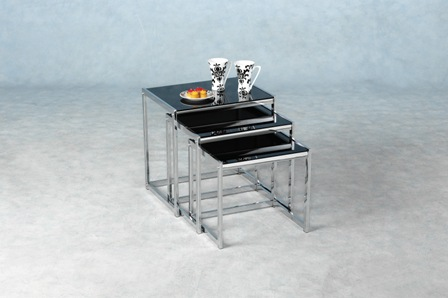 Armesto Black Glass Nest Of Tables