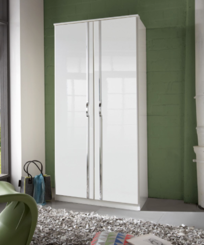 Arosa 2 Door German White Gloss Wardrobe 060202