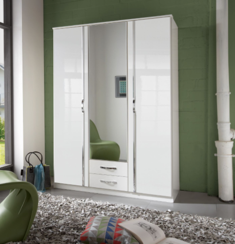 Arosa 3 Door German White Gloss Bedroom Wardrobe 060484