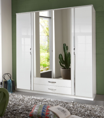 Arosa 4 Door German White Gloss Bedroom Wardrobe 060453