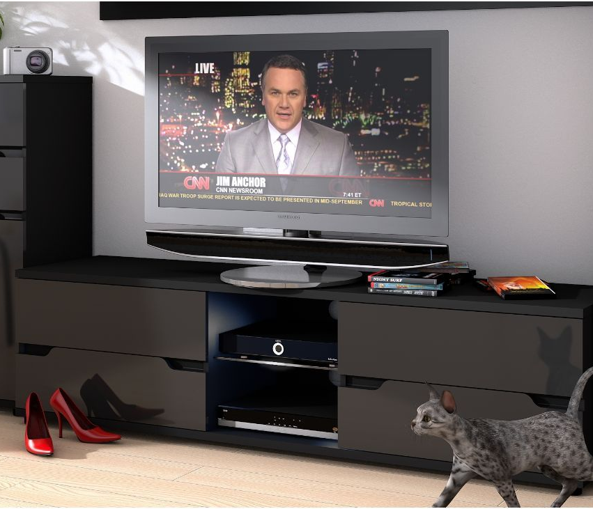 Black Gloss TV Cabinet | Black Gloss TV Units | TV Unit Black Gloss