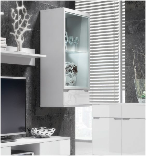 Aspire White Gloss and Glass Wall Mounted Display Case Trophy Cabinet (S08)