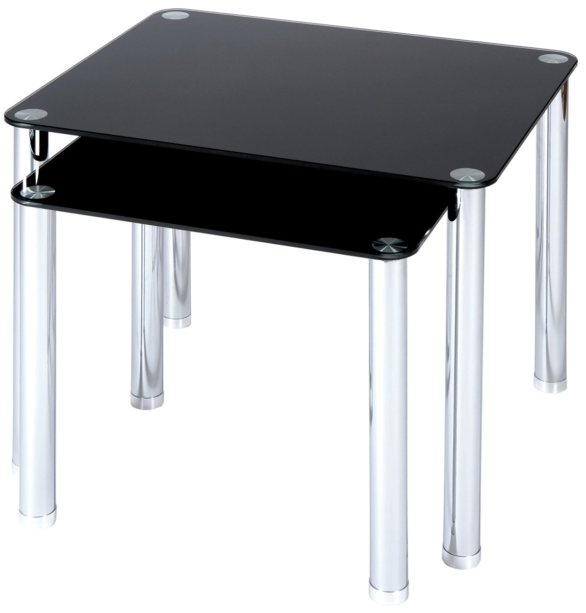 Atripaldi Black Glass Nest Of Tables