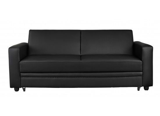 Aubusson Black Faux Leather Sofa Bed 17LD513