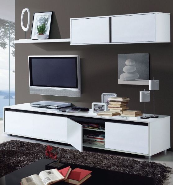 Aura White Gloss Tv Cabinet With Wall Unit