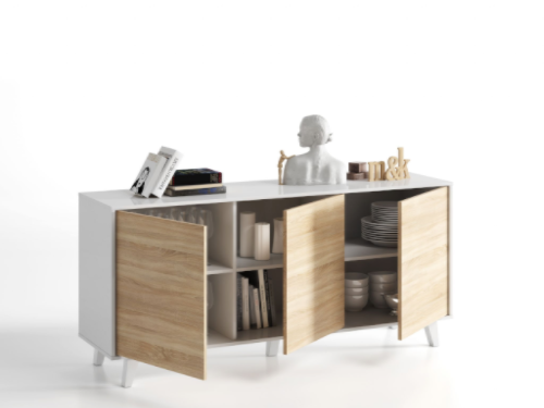 Bari Sideboard Soft White Gloss With Oak Effect