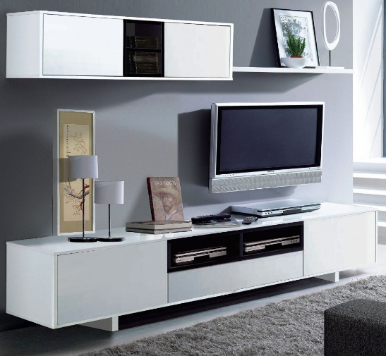 0214558e451 Large White TV and Media Unit